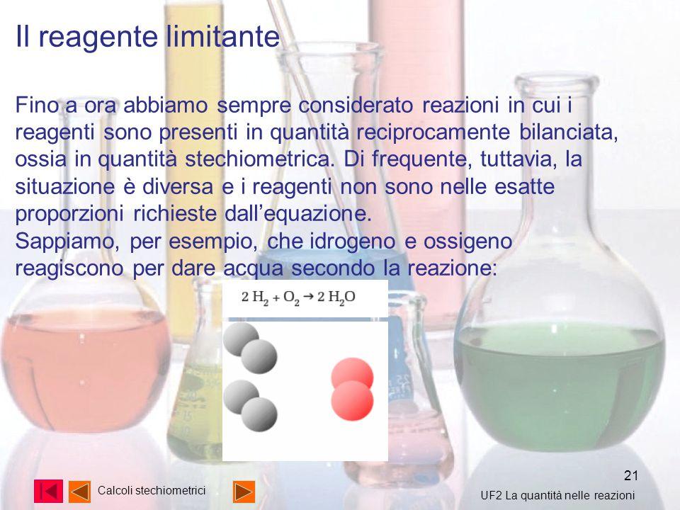 21 Calcoli stechiometrici Il reagente limitante Fino a ora abbiamo sempre considerato reazioni in cui i reagenti sono presenti in quantità reciprocame