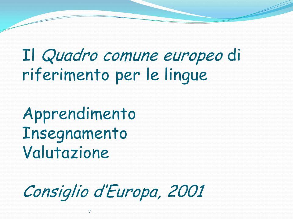 Il Quadro comune europeo di riferimento per le lingue Apprendimento Insegnamento Valutazione Consiglio dEuropa, 2001 7