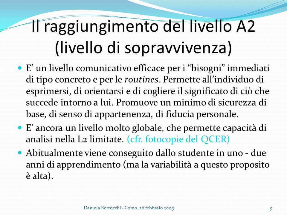 Il raggiungimento del livello A2 (livello di sopravvivenza) E un livello comunicativo efficace per i bisogni immediati di tipo concreto e per le routi