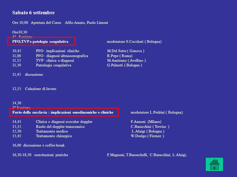 Sabato 6 settembre Ore 10,00 Apertura del Corso Alfio Amato, Paolo Limoni Ore10,30 1° Sessione PFO,TVP e patologia coagulativamoderatore S.Coccheri ( Bologna) 10,45PFO : implicazioni clinicheM.Del Sette ( Genova ) 11,00PFO : diagnosi ultrasoonograficaR.Pepe ( Roma) 11,15TVP : clinica e diagnosiM.Amitrano ( Avellino ) 11,30Patrologia coagulativaG.Palareti ( Bologna ) 11,45 discussione 12,15 Colazione di lavoro 14,30 2° Sessione Furto della succlavia : implicazioni emodinamiche e cliniche moderatore L.Pedrini ( Bologna) 14,45Clinica e diagnosi ecocolor dopplerF.Annoni (Milano) 15,15Ruolo del doppler transcranico C.Baracchini ( Treviso ) 15,30Trattamento medico L.Aluigi ( Bologna ) 15,45Trattamento chirurgicoW.Dorigo ( Firenze ) 16,00 discussione e coffee break 16,30-18,30 esercitazioni praticheF.Magnoni, T.Baronchelli, C.Baracchini, L.Aluigi,