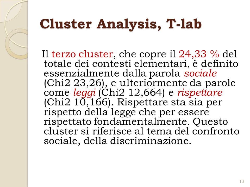 Cluster Analysis, T-lab Il terzo cluster, che copre il 24,33 % del totale dei contesti elementari, è definito essenzialmente dalla parola sociale (Chi