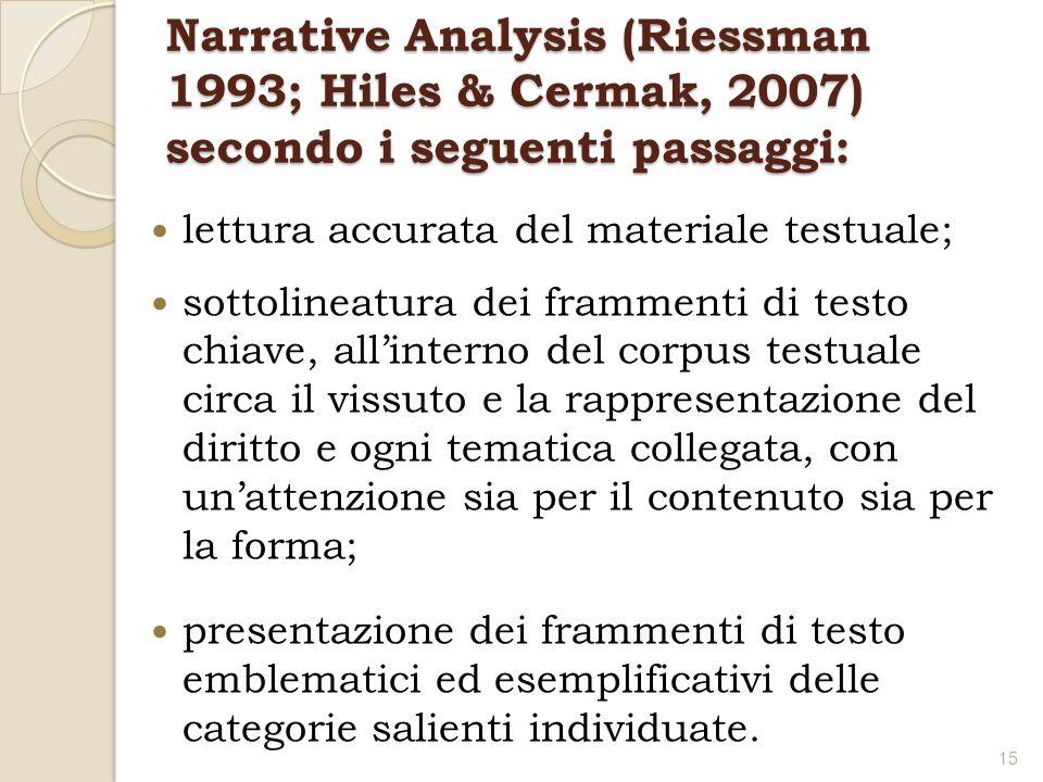Narrative Analysis (Riessman 1993; Hiles & Cermak, 2007) secondo i seguenti passaggi: lettura accurata del materiale testuale; sottolineatura dei fram