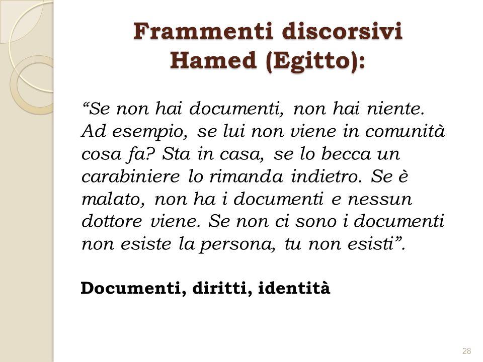 Frammenti discorsivi Hamed (Egitto): S e non hai documenti, non hai niente. Ad esempio, se lui non viene in comunità cosa fa? Sta in casa, se lo becca