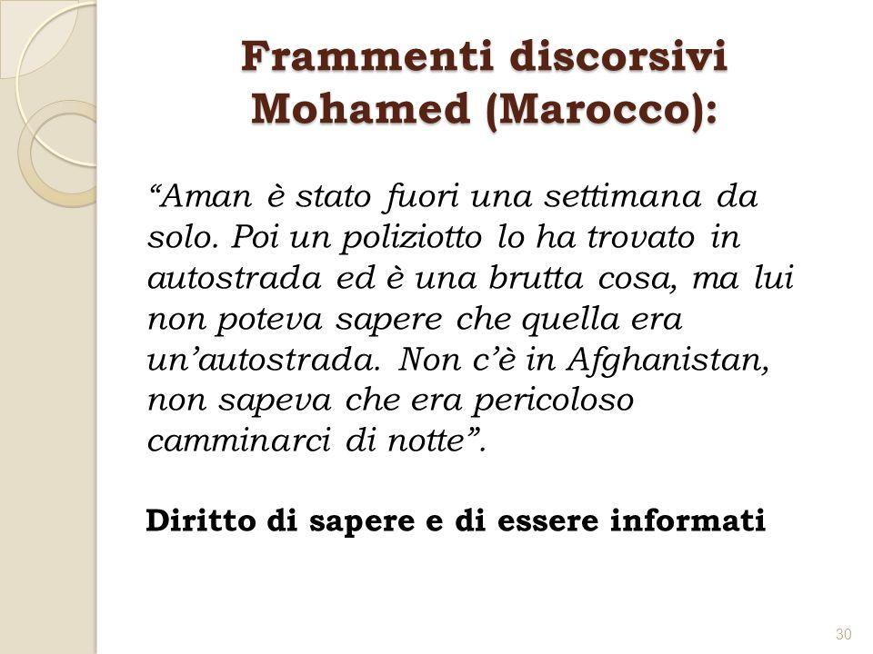 Frammenti discorsivi Mohamed (Marocco): Aman è stato fuori una settimana da solo. Poi un poliziotto lo ha trovato in autostrada ed è una brutta cosa,