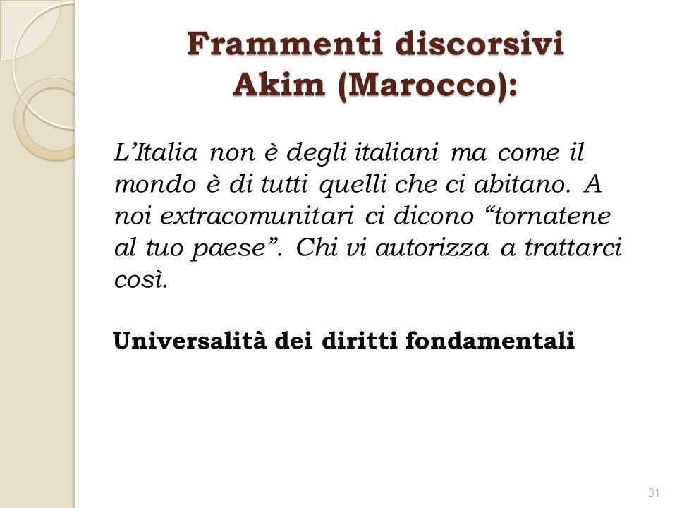 Frammenti discorsivi Akim (Marocco): LItalia non è degli italiani ma come il mondo è di tutti quelli che ci abitano. A noi extracomunitari ci dicono t