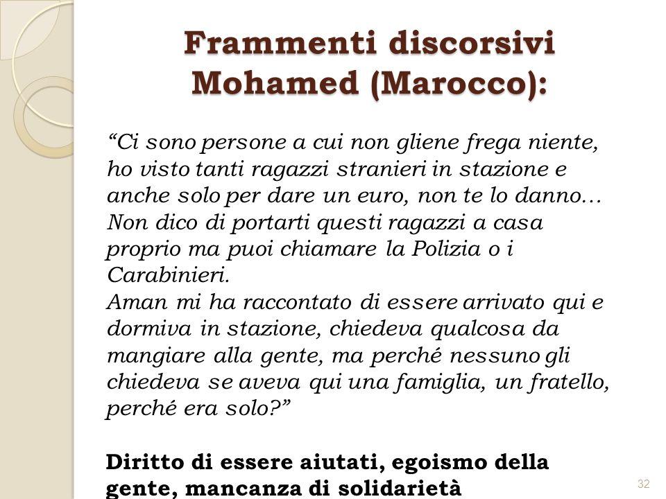 Frammenti discorsivi Mohamed (Marocco): Ci sono persone a cui non gliene frega niente, ho visto tanti ragazzi stranieri in stazione e anche solo per d