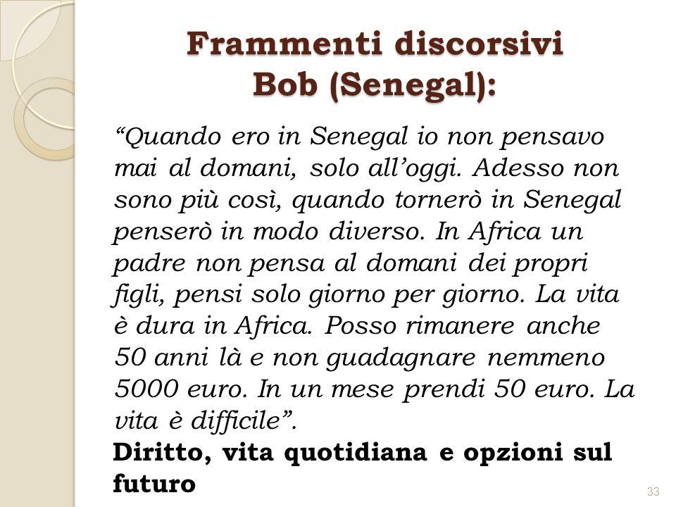 Frammenti discorsivi Bob (Senegal): Q uando ero in Senegal io non pensavo mai al domani, solo alloggi. Adesso non sono più così, quando tornerò in Sen