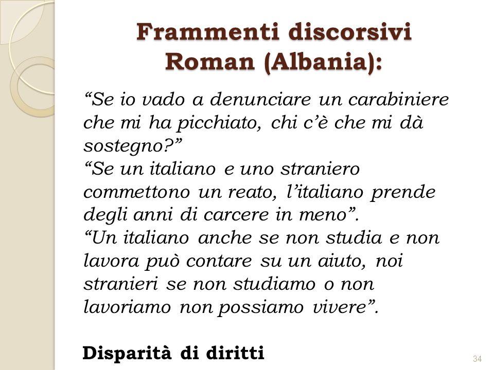 Frammenti discorsivi Roman (Albania): Se io vado a denunciare un carabiniere che mi ha picchiato, chi cè che mi dà sostegno? Se un italiano e uno stra