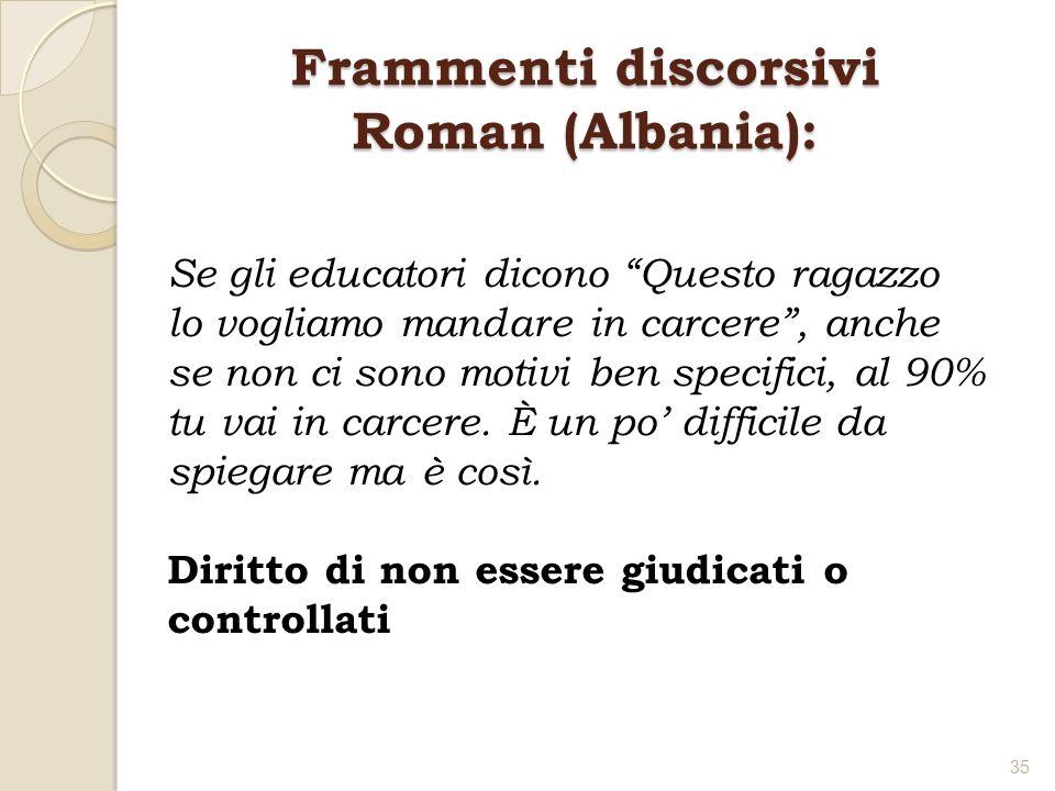 Frammenti discorsivi Roman (Albania): Se gli educatori dicono Questo ragazzo lo vogliamo mandare in carcere, anche se non ci sono motivi ben specifici