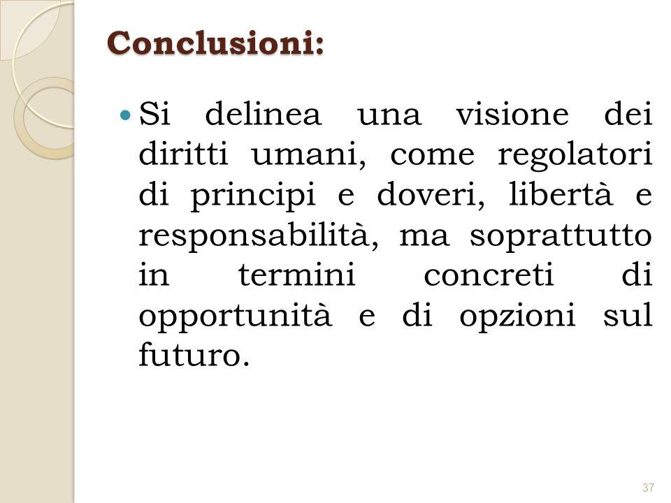 Conclusioni: Si delinea una visione dei diritti umani, come regolatori di principi e doveri, libertà e responsabilità, ma soprattutto in termini concr