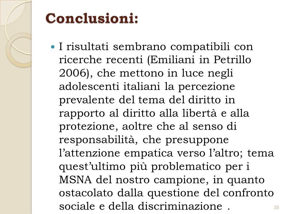 Conclusioni: I risultati sembrano compatibili con ricerche recenti (Emiliani in Petrillo 2006), che mettono in luce negli adolescenti italiani la perc