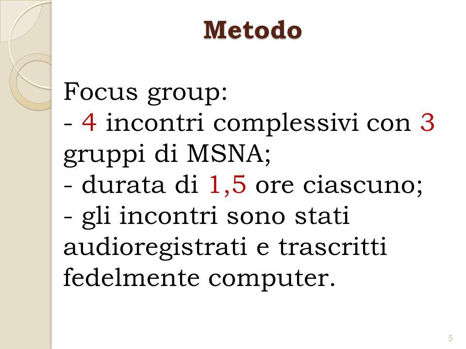 30 MSNA; allinterno di 3 gruppi da 7, 11 e 12 partecipanti ciascuno; età compresa tra i 15 e 18 anni; tutti di sesso maschile; residenti in 3 comunità per minori del territorio dellEmilia-Romagna (Ferrara, Imola, Appennino bolo- gnese).