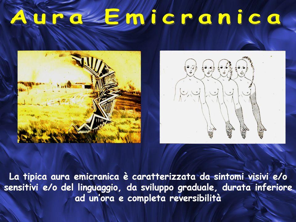 La tipica aura emicranica è caratterizzata da sintomi visivi e/o sensitivi e/o del linguaggio, da sviluppo graduale, durata inferiore ad unora e completa reversibilità