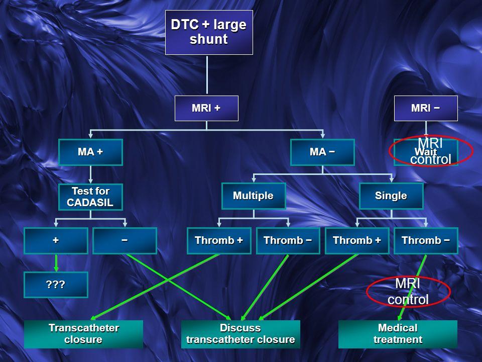 Transcatheter closure Discuss transcatheter closure Medical treatment MRI MRI MRI + MA + MA MA Thromb + Thromb Thromb Thromb + Thromb Thromb MultipleSingle Wait Test for CADASIL + ??.