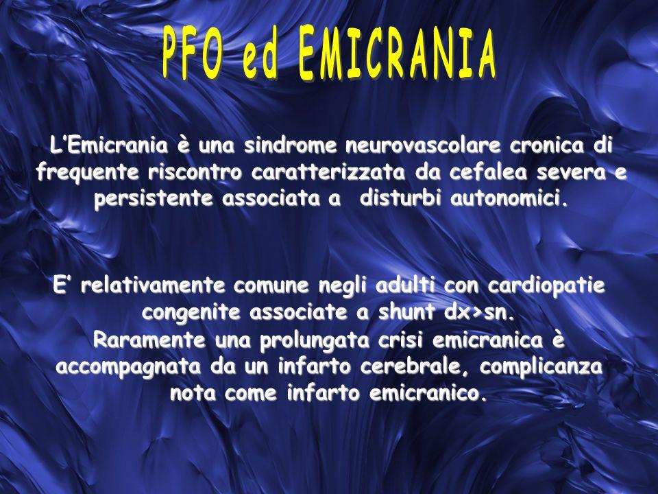 Ripetuta e prolungata ipoperfusione Ripetuta e prolungata ipoperfusione Riduzione del flusso ematico e oligoemia associata ad attivazione Riduzione del flusso ematico e oligoemia associata ad attivazione della coagulazione della coagulazione Vasocostrizione mediata o indotta da sostanze attive a livello Vasocostrizione mediata o indotta da sostanze attive a livello endoteliale (endotelina 1) endoteliale (endotelina 1) Disidratazione in corso di attacco emicranico Disidratazione in corso di attacco emicranico Eccessiva attivazione neuronale, rilascio di citochine e neuropeptidi Eccessiva attivazione neuronale, rilascio di citochine e neuropeptidi Apoptosi (emicrania emiplegica ) Apoptosi (emicrania emiplegica ) Forame ovale pervio o prolasso della valvola mitrale Forame ovale pervio o prolasso della valvola mitrale Trombosi ischemia Danno tessutale diretto Embolia ischemia