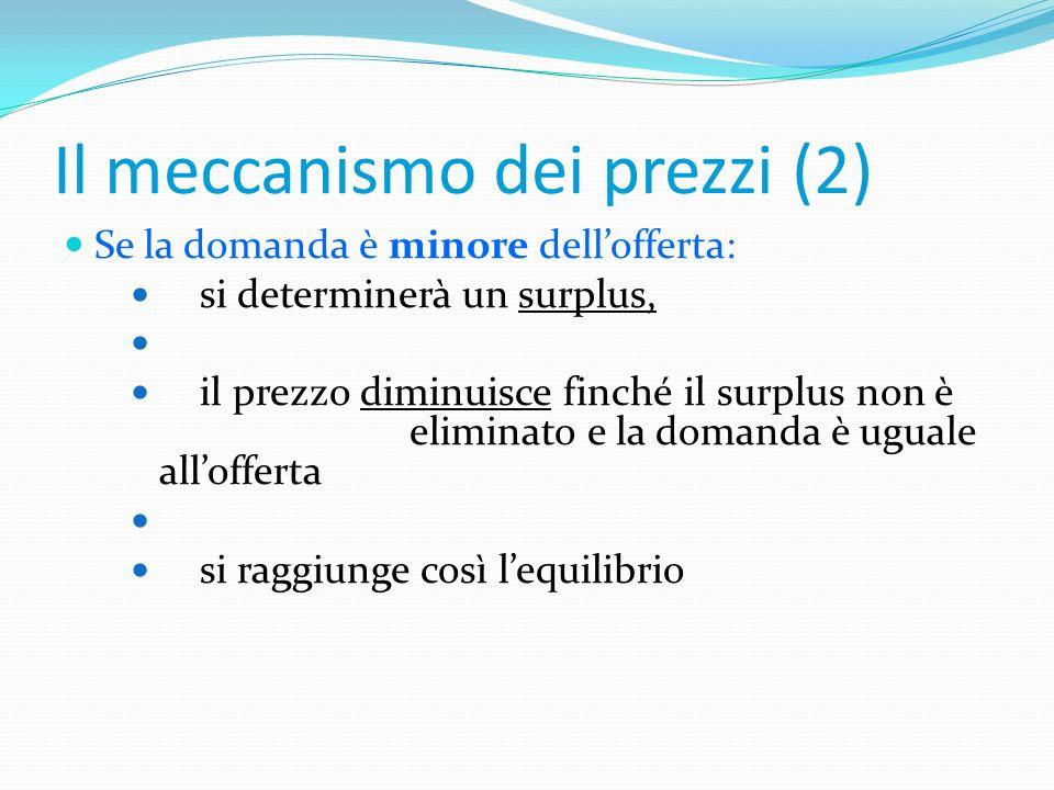 Il meccanismo dei prezzi (1) Se la domanda è maggiore dellofferta: si determinerà una scarsità, il prezzo aumenta finché la scarsità non è eliminata e