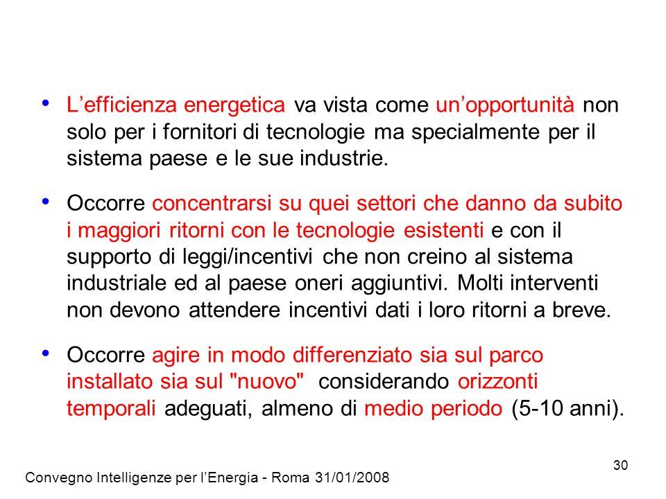 Convegno Intelligenze per lEnergia - Roma 31/01/2008 30 Lefficienza energetica va vista come unopportunità non solo per i fornitori di tecnologie ma specialmente per il sistema paese e le sue industrie.