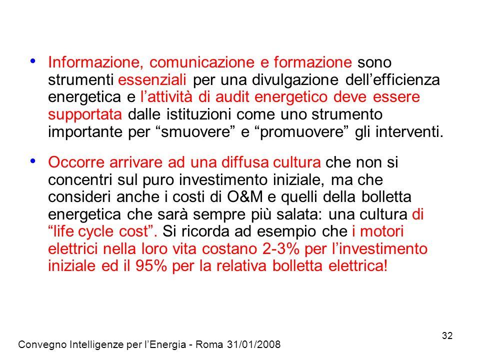 Convegno Intelligenze per lEnergia - Roma 31/01/2008 32 Informazione, comunicazione e formazione sono strumenti essenziali per una divulgazione dellefficienza energetica e lattività di audit energetico deve essere supportata dalle istituzioni come uno strumento importante per smuovere e promuovere gli interventi.