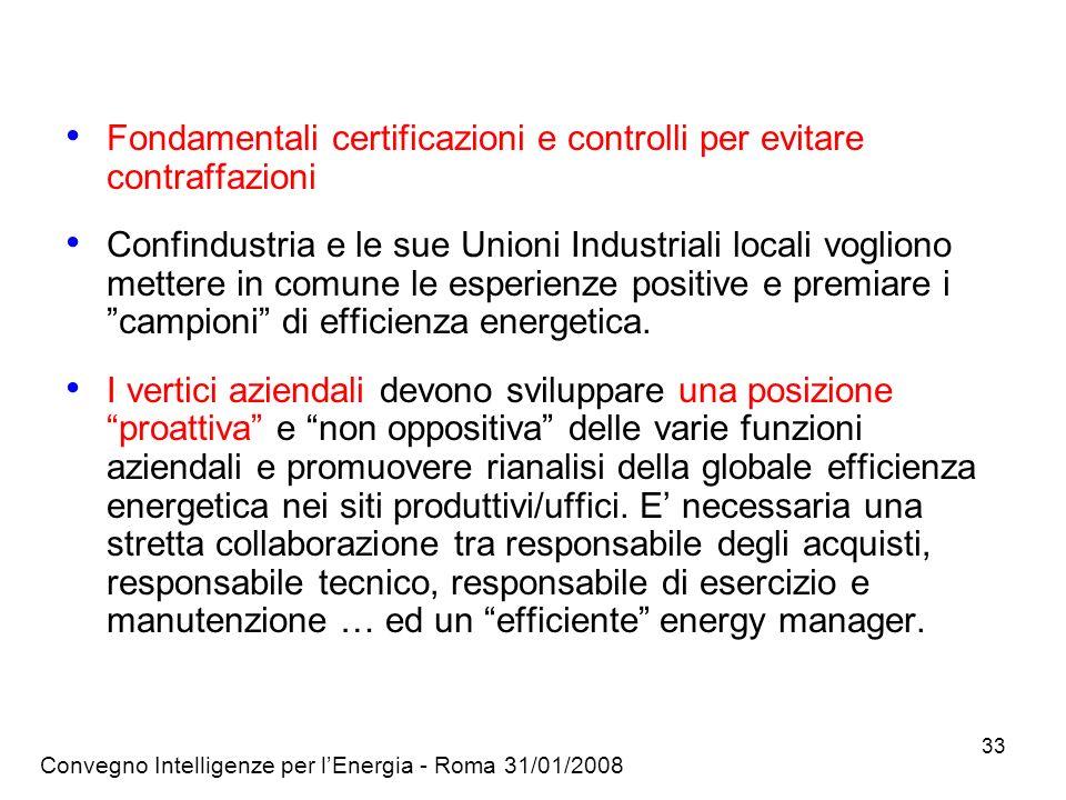 Convegno Intelligenze per lEnergia - Roma 31/01/2008 33 Fondamentali certificazioni e controlli per evitare contraffazioni Confindustria e le sue Unioni Industriali locali vogliono mettere in comune le esperienze positive e premiare i campioni di efficienza energetica.