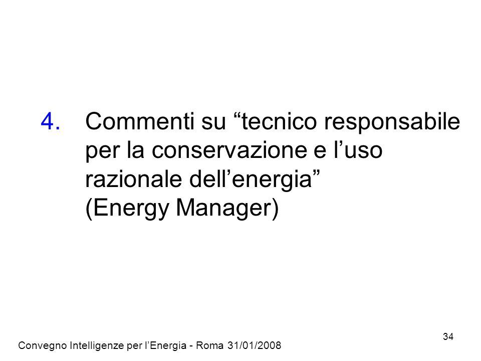 Convegno Intelligenze per lEnergia - Roma 31/01/2008 34 4.Commenti su tecnico responsabile per la conservazione e luso razionale dellenergia (Energy Manager)