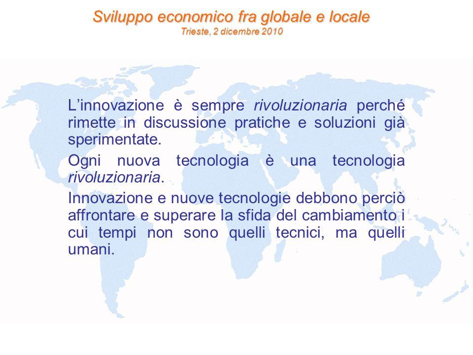 Sviluppo economico fra globale e locale Trieste, 2 dicembre 2010 Linnovazione è sempre rivoluzionaria perché rimette in discussione pratiche e soluzio