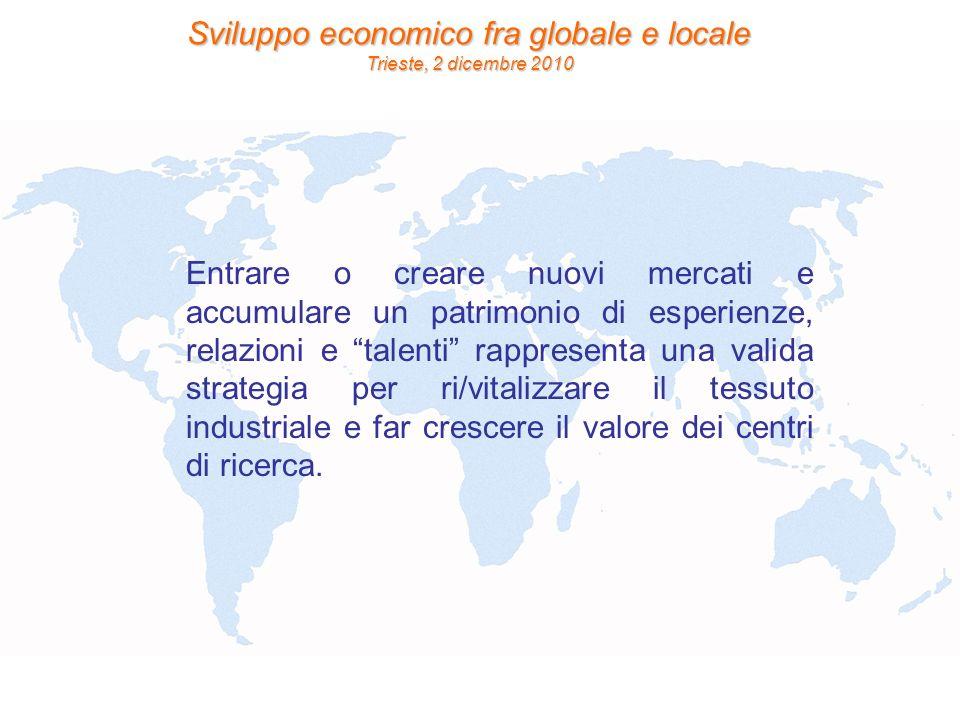Sviluppo economico fra globale e locale Trieste, 2 dicembre 2010 Entrare o creare nuovi mercati e accumulare un patrimonio di esperienze, relazioni e