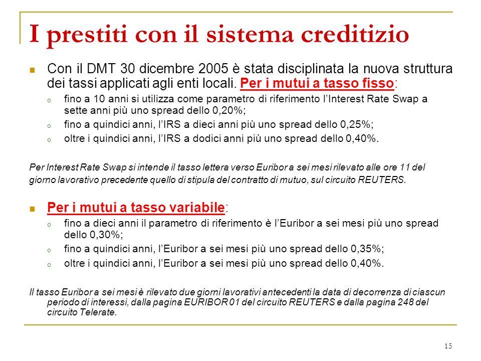15 I prestiti con il sistema creditizio Con il DMT 30 dicembre 2005 è stata disciplinata la nuova struttura dei tassi applicati agli enti locali. Per