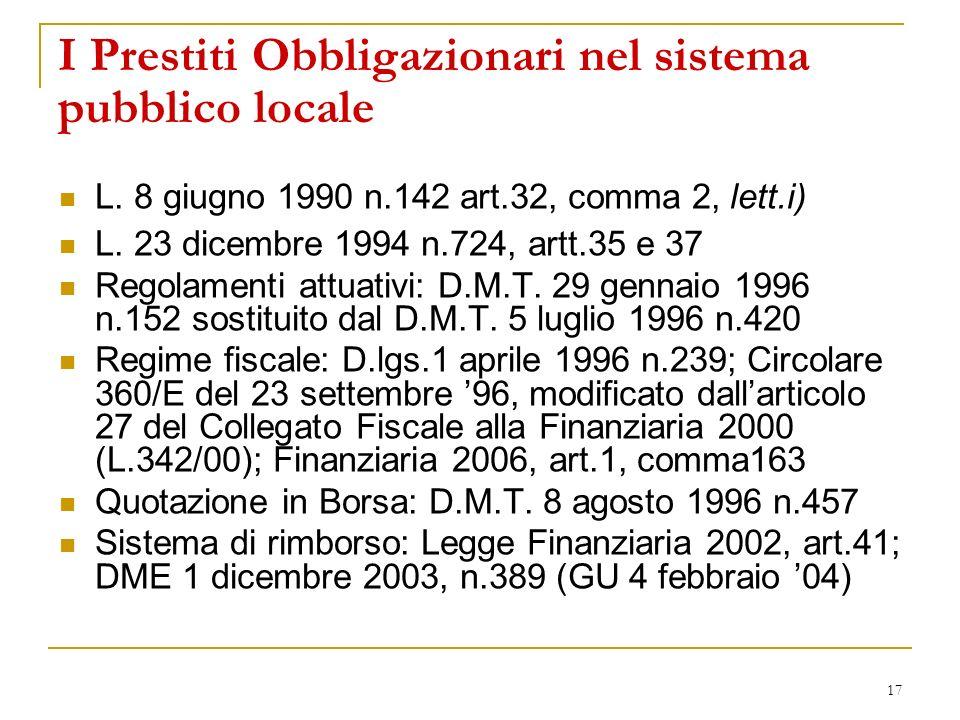 17 I Prestiti Obbligazionari nel sistema pubblico locale L. 8 giugno 1990 n.142 art.32, comma 2, lett.i) L. 23 dicembre 1994 n.724, artt.35 e 37 Regol