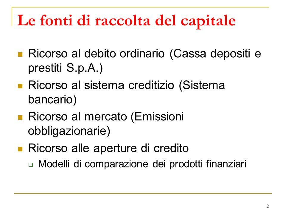2 Le fonti di raccolta del capitale Ricorso al debito ordinario (Cassa depositi e prestiti S.p.A.) Ricorso al sistema creditizio (Sistema bancario) Ri