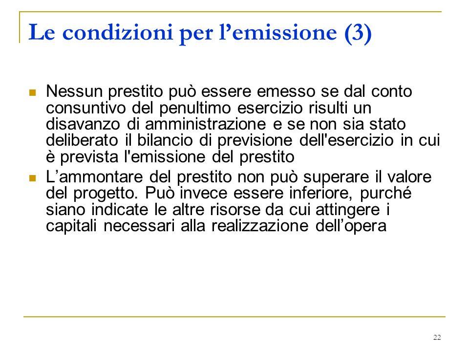 22 Le condizioni per lemissione (3) Nessun prestito può essere emesso se dal conto consuntivo del penultimo esercizio risulti un disavanzo di amminist