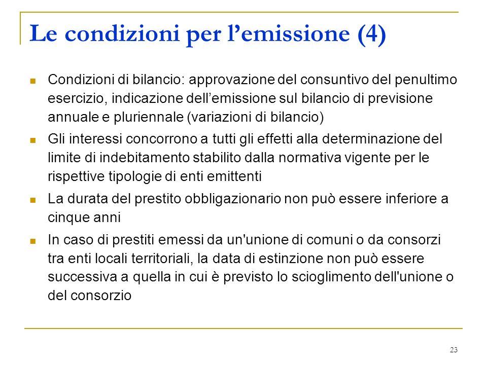 23 Le condizioni per lemissione (4) Condizioni di bilancio: approvazione del consuntivo del penultimo esercizio, indicazione dellemissione sul bilanci