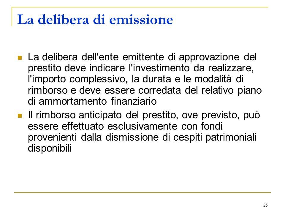 25 La delibera di emissione La delibera dell'ente emittente di approvazione del prestito deve indicare l'investimento da realizzare, l'importo comples