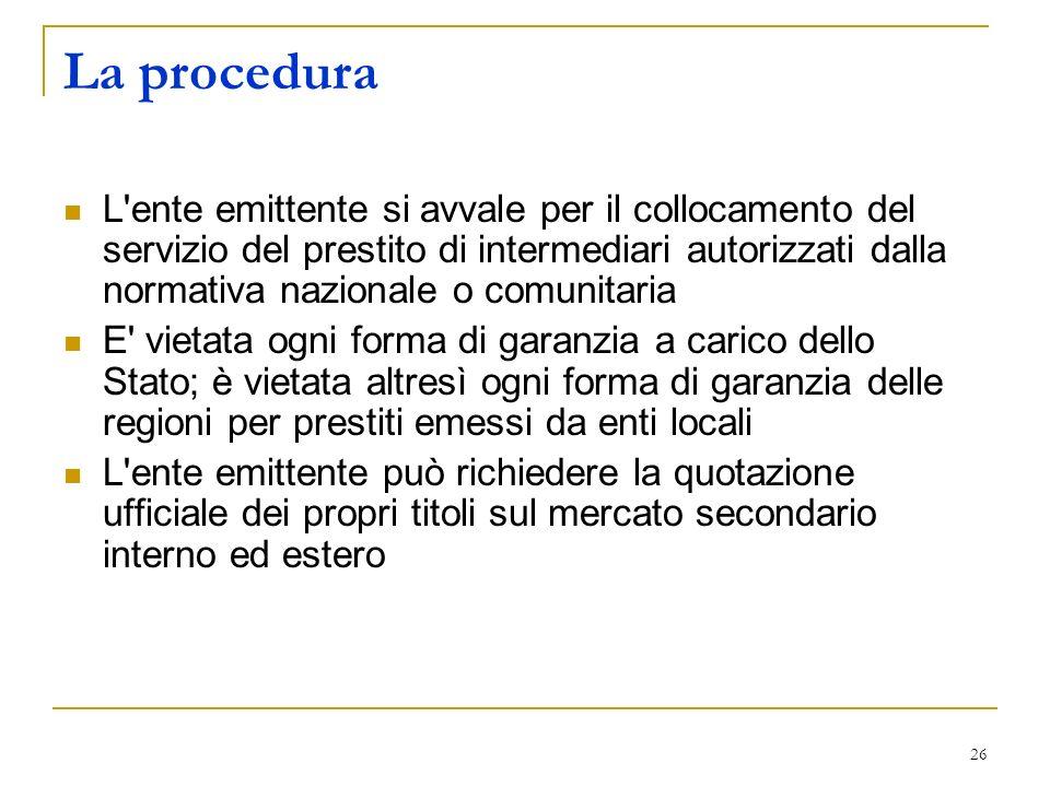 26 La procedura L'ente emittente si avvale per il collocamento del servizio del prestito di intermediari autorizzati dalla normativa nazionale o comun