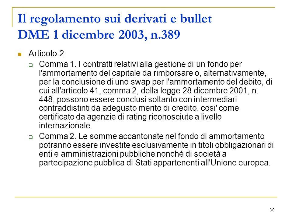 30 Il regolamento sui derivati e bullet DME 1 dicembre 2003, n.389 Articolo 2 Comma 1. I contratti relativi alla gestione di un fondo per l'ammortamen
