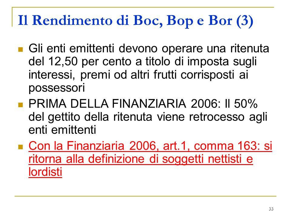 33 Il Rendimento di Boc, Bop e Bor (3) Gli enti emittenti devono operare una ritenuta del 12,50 per cento a titolo di imposta sugli interessi, premi o
