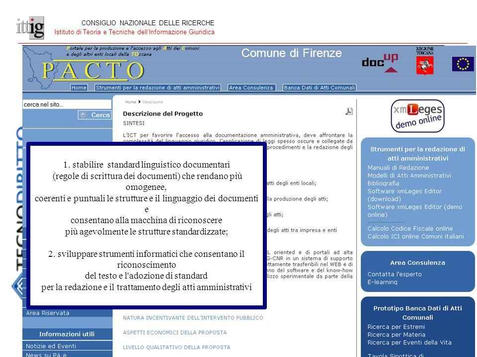 CONSIGLIO NAZIONALE DELLE RICERCHE Istituto di Teoria e Tecniche dellInformazione Giuridica Comune di Firenze 1.
