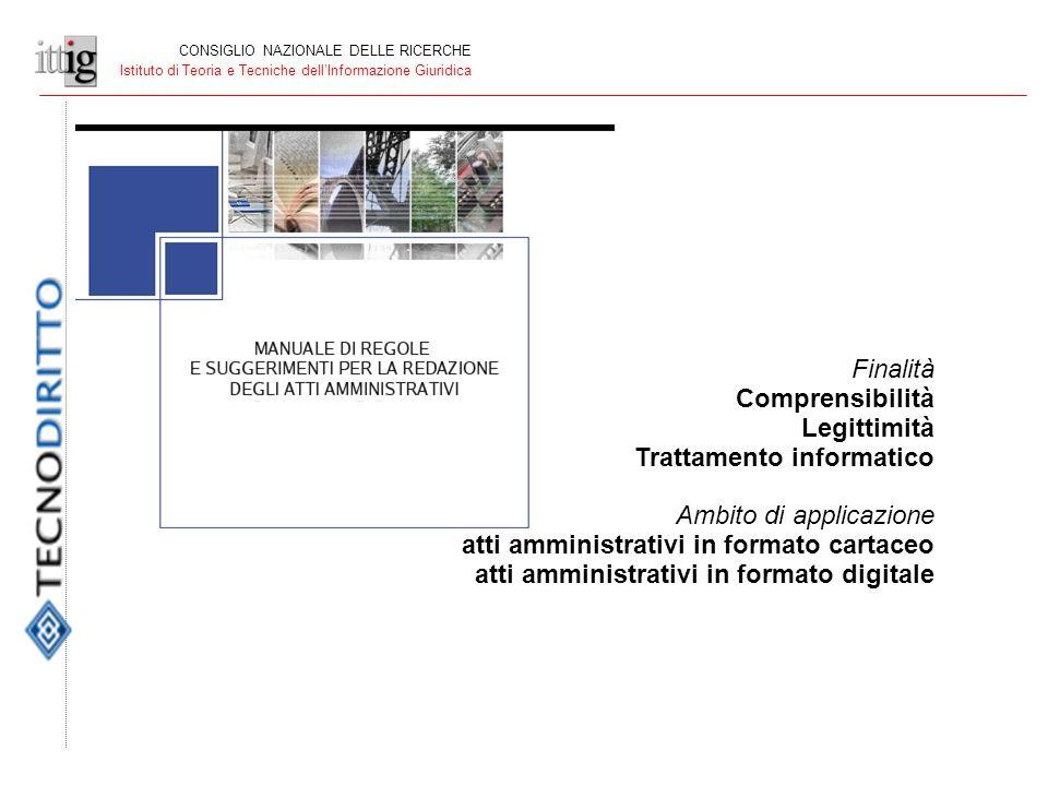 CONSIGLIO NAZIONALE DELLE RICERCHE Istituto di Teoria e Tecniche dellInformazione Giuridica Finalità Comprensibilità Legittimità Trattamento informatico Ambito di applicazione atti amministrativi in formato cartaceo atti amministrativi in formato digitale