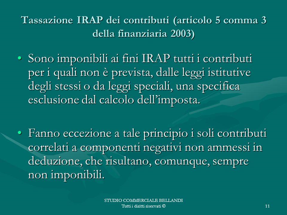 STUDIO COMMERCIALE BELLANDI Tutti i diritti riservati ©11 Tassazione IRAP dei contributi (articolo 5 comma 3 della finanziaria 2003) Sono imponibili a