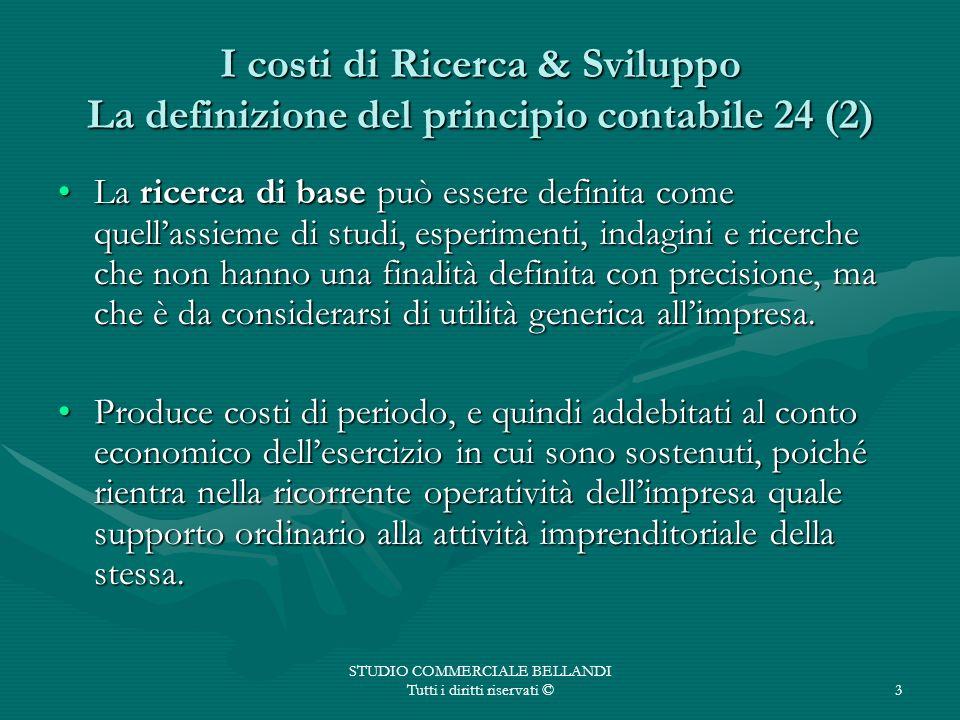 STUDIO COMMERCIALE BELLANDI Tutti i diritti riservati ©3 I costi di Ricerca & Sviluppo La definizione del principio contabile 24 (2) La ricerca di bas