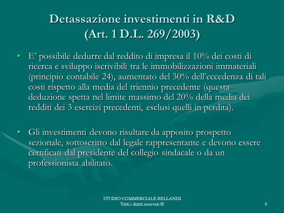 STUDIO COMMERCIALE BELLANDI Tutti i diritti riservati ©9 Detassazione investimenti in R&D (Art. 1 D.L. 269/2003) E possibile dedurre dal reddito di im