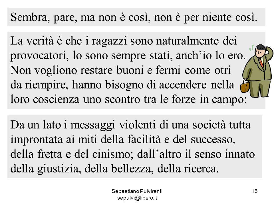 Sebastiano Pulvirenti sepulvi@libero.it 15 Sembra, pare, ma non è così, non è per niente così. La verità è che i ragazzi sono naturalmente dei provoca