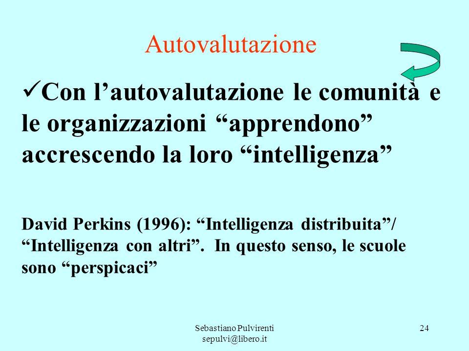 Sebastiano Pulvirenti sepulvi@libero.it 24 Autovalutazione Con lautovalutazione le comunità e le organizzazioni apprendono accrescendo la loro intelli
