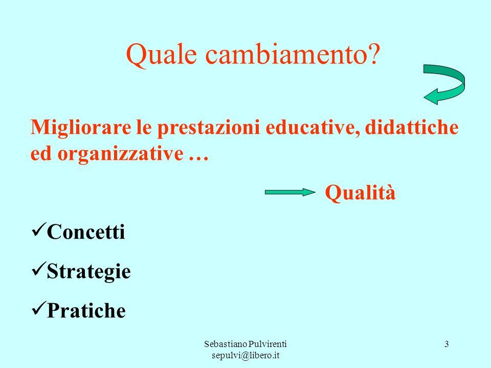 Sebastiano Pulvirenti sepulvi@libero.it 3 Quale cambiamento? Migliorare le prestazioni educative, didattiche ed organizzative … Qualità Concetti Strat