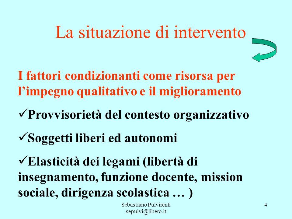 Sebastiano Pulvirenti sepulvi@libero.it 4 La situazione di intervento I fattori condizionanti come risorsa per limpegno qualitativo e il miglioramento