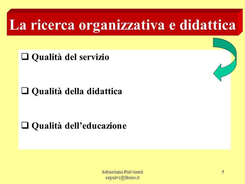 Sebastiano Pulvirenti sepulvi@libero.it 5 La ricerca organizzativa e didattica Qualità del servizio Qualità della didattica Qualità delleducazione