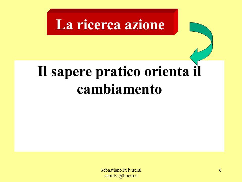 Sebastiano Pulvirenti sepulvi@libero.it 6 La ricerca azione Il sapere pratico orienta il cambiamento
