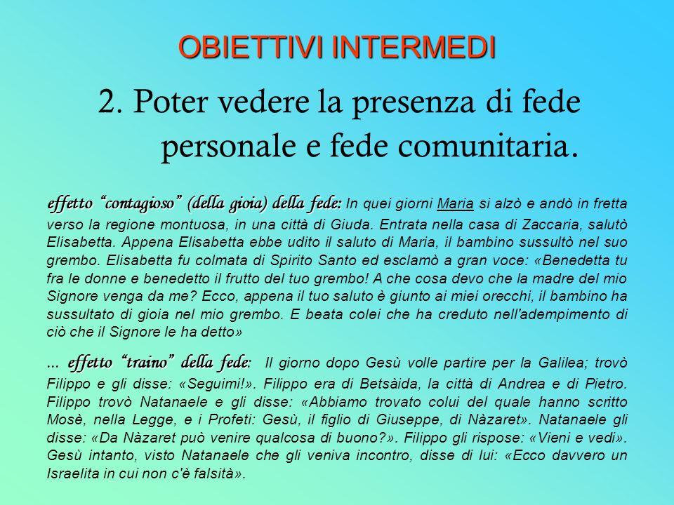 OBIETTIVI INTERMEDI 2. Poter vedere la presenza di fede personale e fede comunitaria.
