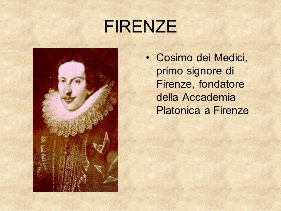 FIRENZE Cosimo dei Medici, primo signore di Firenze, fondatore della Accademia Platonica a Firenze