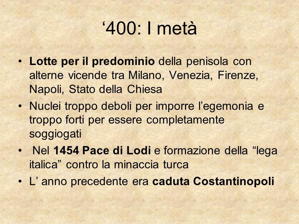400: I metà Lotte per il predominio della penisola con alterne vicende tra Milano, Venezia, Firenze, Napoli, Stato della Chiesa Nuclei troppo deboli p