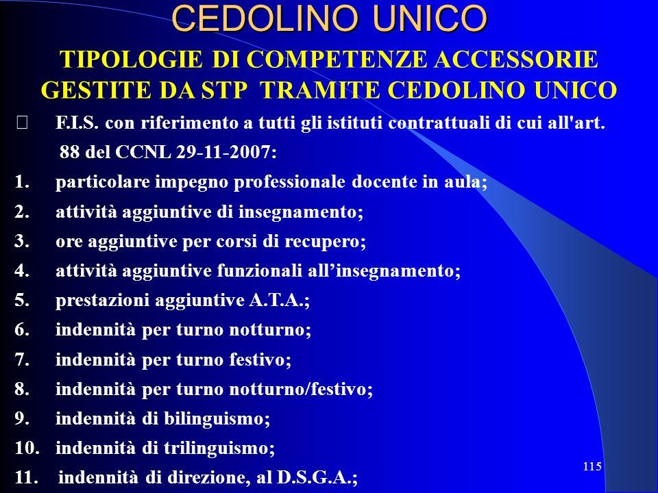 TIPOLOGIE DI COMPETENZE ACCESSORIE GESTITE DA STP TRAMITE CEDOLINO UNICO F.I.S. con riferimento a tutti gli istituti contrattuali di cui all'art. 88 d